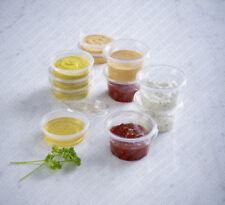 Clear Plastic Reusable sauce containers with Lids | cups/pot/TUB/TRAITEUR/TAKEAWAY