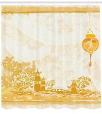 Lantern Shower Curtain Fabric Bathroom Decor Set with Hooks 4 Sizes