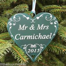 Personalised Mr & Mrs Bridal Gift Married Couple Heart Decoration Keepsakes