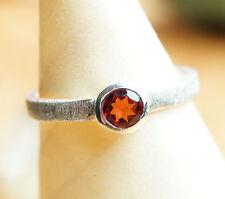 Handarbeit Ring Silber 50 52 54 Granat Rot Silberring Gebürstet Matt Schlicht