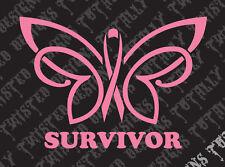 Breast cancer awareness survivor butterfly car truck vinyl decal sticker pink