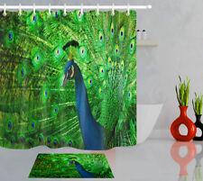 "Green Peacock Bathroom Decor 100% Polyester Shower Curtain Set Hooks 71""X71"" Lb"