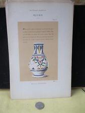 Vintage Print,BOUTEILLE PORTE FLEURS,Faience,1872,French,Litho