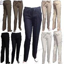 Femme Casual Lin Pantalon Pleine Longueur Pantalon pantalon confortable Lot Tailles Nouveau