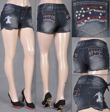 NWT Ladies denim stretch Shorts ripped jeans jogger elastic waist SG-35777