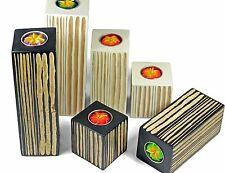 Wooden block tea light candle holders Set of 3 Handmade Mango Wood
