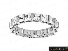 3.35Ct Princess Cut Diamond Bezel Set Eternity Band Wedding Ring 18K Gold H SI2