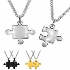 2 Ketten mit Puzzle Anhänger Freundschaftskette Partnerkette silber schwarz gold