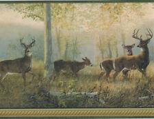 Northwoods Forest Deer with Green Edge Wallpaper Border WM96270
