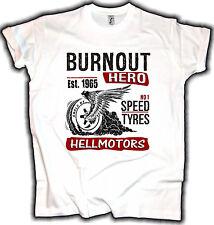 Hotrod T-Shirt Burnout Oldschool Biker Rocker Route Wheele Street Herren Auto