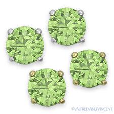 Round Cut Cubic Zirconia Faux Peridot 925 Sterling Silver Stud Earrings August