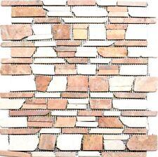 Mosaik Terracotta/Weiß versetzt Wand Naturstein Sauna Bad| 40-0225_f | 10 Matten