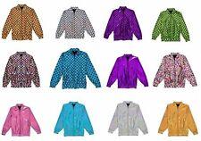 Womens Mens Foil Bomber Jacket Glitter Festival Costume Metalic jackets