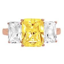 4.0 ct Emerald 3 Stone Yellow Stone Promise Bridal Wedding Ring 14k Rose Gold
