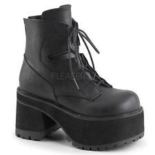 "Demonia 4"" Block Heel Platform Black Vegan Ankle Boots Goth Punk Rocker 6-12"