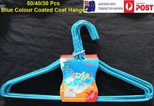 Blue Wire Hangers 30 40 50 pcs Coated Coat hangers PVC Colour Bulk Clothes Shirt