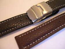 Faltschliessenband Leder mit stabiler Edelstahl Faltschließe schwarz braun blau