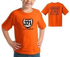 JUST RIDE MOTOCROSS NUMBER PLATE YOUTH T SHIRT ORANGE CHILD MX MINI MOTO KTM SX