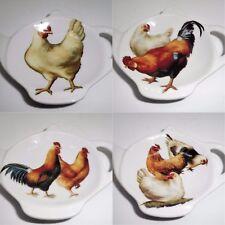 Chickens Tea Bag Tidy, Cockerels Tea Bag Rest, Porcelain Ceramic Tea Bag Holder