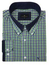 Cotton Valley De Algodón Azul Marino Verde cuadros camisa de manga larga, talla