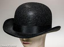 Bowler/Derby Hat Black Pressed Felt Victorian Era Gentleman's Costume Hat
