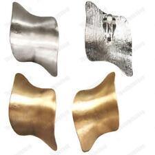 BIG 6cm clip in metallo retrò Orecchini curvi futuristica SPAZZOLATO ANNI'80 Placcato Oro