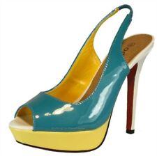 ODEON verni talons lp3440 Turquoise BOUCLE BOUT OUVERT Femmes Chaussures haut
