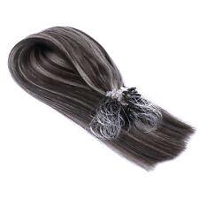 Micro-Ring / Loop (#1b/Grey GESTRÄHNT) Hair Extensions Echthaar Haarverlängerung