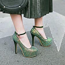 Women Glitter Stiletto Pump Ankle Strap Platform High Heels Party Shoes Big Size