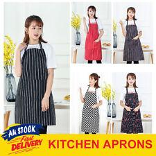 Apron Waiter Chef Kitchen Cooking Striped Washable Pocket Black White Red Bib