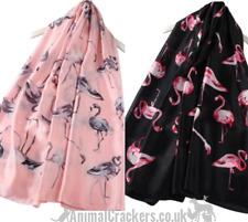 PURE SILK Flamingo scarf headscarf neckerchief PINK OR BLACK Flamingo lover gift