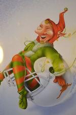 Texas Christmas Cards 12 Pack Football,TEXAS LONGHORNS,elf on helmet