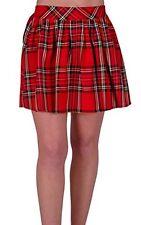 Womens Elasticated Ladies Casual Tartan Checkered Pleated Mini Dress Skirt