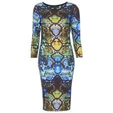 Topshop Snake Print Midi Bodycon Dress Size UK 6 8