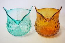 Art Glass table vase Owl shape Light blue / Brown Home Decor Brand new 16cm*18cm