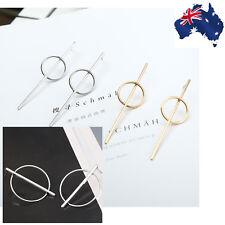 Geometric Elegant Gold & Silver Metal Circle Hoops Round Drop Stud Earrings