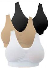 Sin Costuras tirar Bra Crop Top Negro Desnudo Blanco Acolchado S M L XL 2XL 3XL Plus