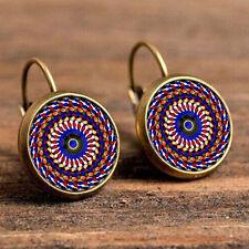 Vintage Old Time Gemstone Earrings Bohemia Ethnic Glass Gem Ear Studs Pendant