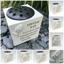 Memorial Praying Hands Flower Bowl Vase Rosary Beads Plaque Tribute Grave Pot