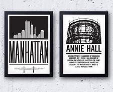 Woody Allen Poster Set - Annie Hall & Manhattan, Diane Keaton NYC New York