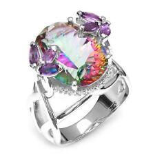Women 925 Silver Plated Rainbow Amethyst Sapphire Ring Wedding Engagement New