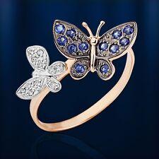 Russische Rose  Gold 585 Goldring mit Brillanten & Saphire Schmetterlinge