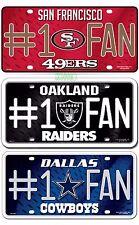 NFL Team #1 Fan Metal Sign License Plate Tag Man Cave