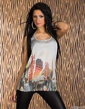 Para Mujeres Informal Camisa Blusa Camiseta sin mangas desgaste UK Size 8-10