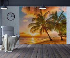 Beautiful tropical beach palm trees wallpaper wall mural photo (25827353)