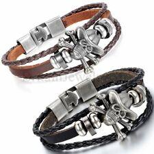 Vintage Pirate Skull Bone Black Brown Leather Cuff Bracelet Men Women Jewelry
