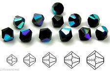 Czech MC Glass Bicone Beads (Rondell/Diamond) Jet black AB crystals, bicones