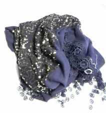 Sfizioso triangolo donna blu sciarpa triangolare e paillettes luccicanti argento