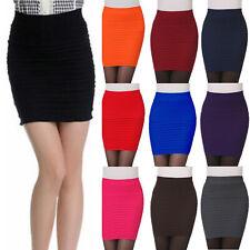 Women Solid Stripe High Waist Package Hip Elastic Office Mini Short Pencil Skirt