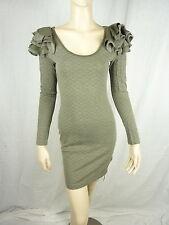 Metalicus Womens Hyperreal Long Sleeve Dress BNWT- Khaki- rrp $199